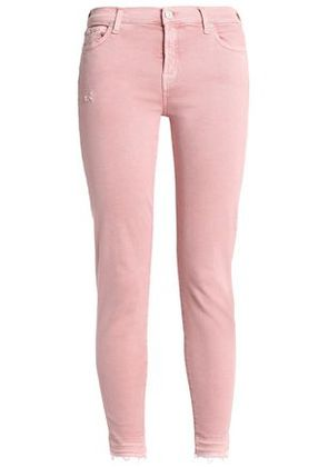 7 For All Mankind Woman Mid-rise Skinny Jeans Pink Size 24