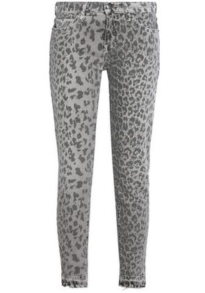 Current/elliott Woman Printed Mid-rise Skinny Jeans Light Gray Size 25