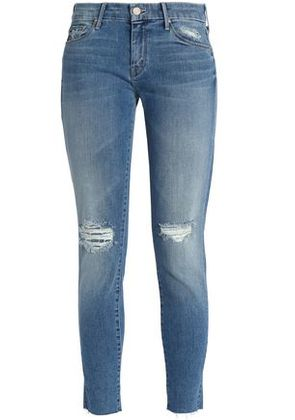 Mother Woman Cropped Bleached Low-rise Skinny Jeans Mid Denim Size 26