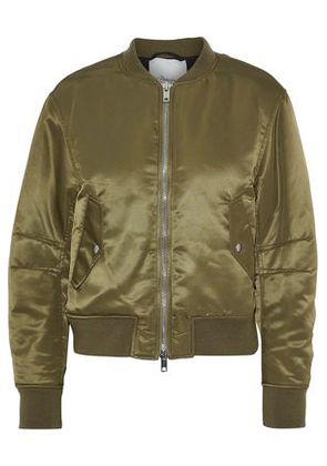 3.1 Phillip Lim Woman Lace-up Satin Bomber Jacket Army Green Size 0