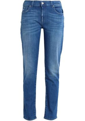 7 For All Mankind Woman Distressed Faded Boyfriend Jeans Mid Denim Size 24