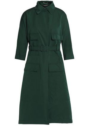 Rochas Woman Belted Cotton-blend Shell Jacket Emerald Size 40