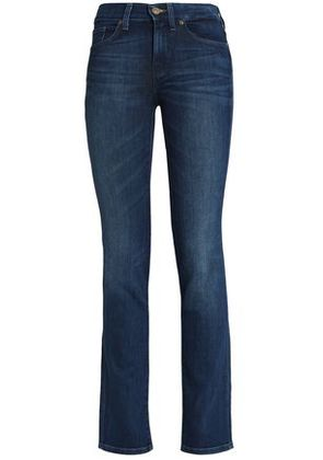 7 For All Mankind Woman Faded High-rise Slim-leg Jeans Mid Denim Size 24