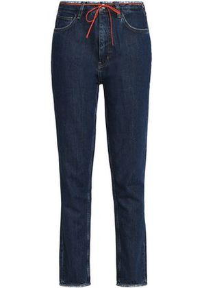 M.i.h Jeans Woman Distressed High-rise Tapered Jeans Dark Denim Size 31