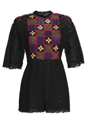 Valentino Woman Embroidered Guipure Lace Playsuit Black Size 40