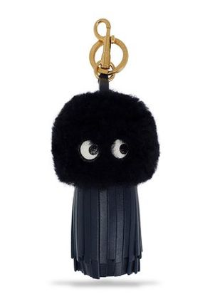 Anya Hindmarch Woman Tasseled Leather And Shearling Keychain Midnight Blue Size -