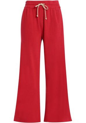 Mother Woman French Cotton-terry Wide-leg Pants Red Size S