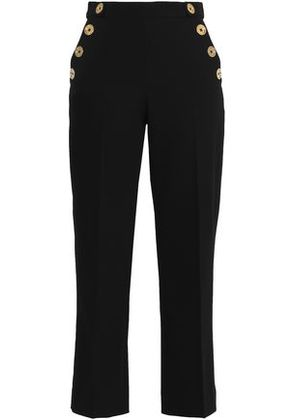 Perseverance Woman Cropped Button-embellished Crepe Straight-leg Pants Black Size 12