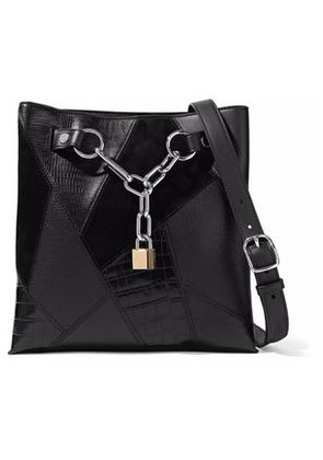 Alexander Wang Woman Paneled Chain-embellished Suede, Croc-effect And Textured-leather Tote Black Size -