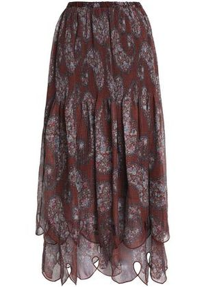 See By Chloé Woman Pleated Printed Georgette Midi Skirt Brick Size 40