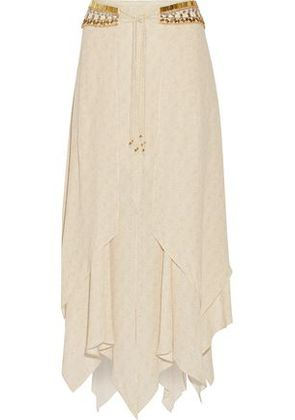 Camilla Woman Embellished Tie-front Layered Printed Voile Midi Skirt Ivory Size 14