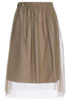 Brunello Cucinelli Woman Layered Tulle And Cotton-poplin Skirt Taupe Size 42
