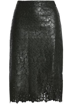 House Of Holland Woman Wrap-effect Coated Corded Lace Skirt Forest Green Size 8