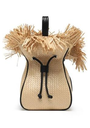 3.1 Phillip Lim Woman Leather-trimmed Frayed Woven Bucket Bag Beige Size -