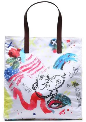 Marc Jacobs Woman Leather-trimmed Printed Shell Tote Off-white Size -