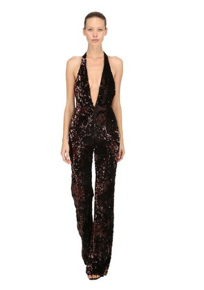 SEQUINED VELVET HALTER NECK JUMPSUIT