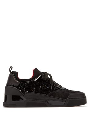 Aurelien glittered velvet and suede trainers
