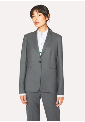 A Suit To Travel In - Women's Grey Marl One-Button Wool Blazer
