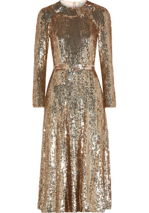 Temperley London - Ray Sequined Chiffon Midi Dress - Gold