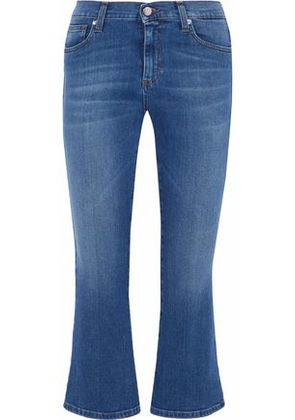 Iris & Ink Woman Addison Cropped Mid-rise Flared Jeans Mid Denim Size 32