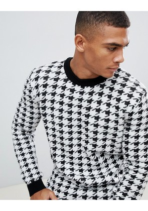 New Look jumper in black dogstooth print - Black pattern