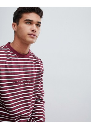 New Look long sleeve t-shirt with New York embroidery in burgundy stripe - Burgundy