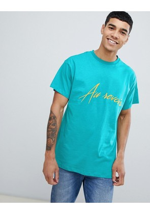 New Look t-shirt with au revoir embroidery in green - Mint green