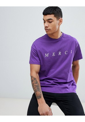 New Look t-shirt with merci embroidery in purple - Dark purple