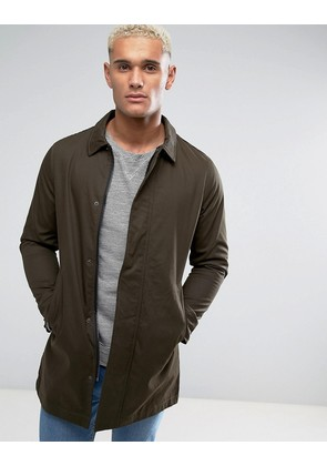 Brave Soul Classic Mac with Check Lining - Green
