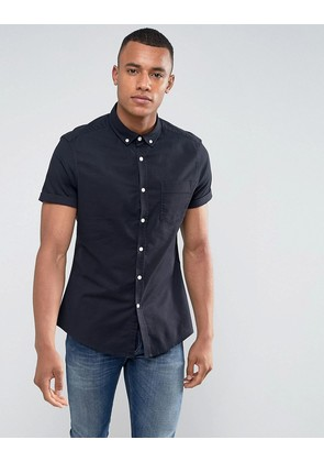 ASOS Casual Slim Fit Oxford Shirt In Navy - Navy
