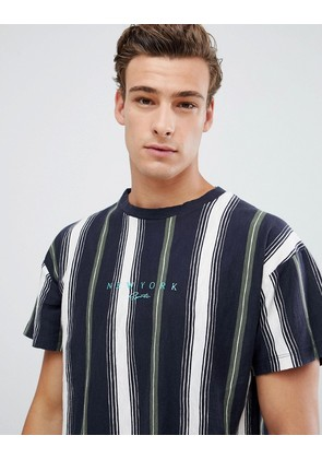 New Look t-shirt with NYC print in navy stripe - Navy