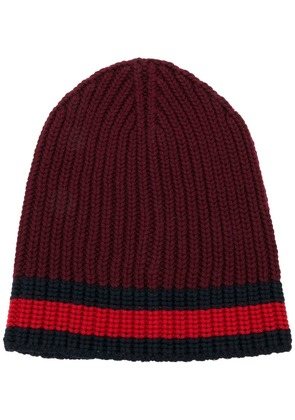 Gucci Web trim knitted beanie - Red