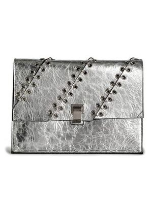 Proenza Schouler Woman Barbell-embellished Metallic Leather Clutch Silver Size -