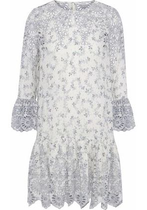 Ganni Woman Gathered Printed Broderie Anglaise Mini Dress Ivory Size 38