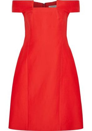 Halston Heritage Woman Off-the-shoulder Cotton And Silk-blend Mini Dress Tomato Red Size 12