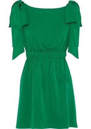 Milly Woman Allie Bow-embellished Silk-blend Mini Dress Green Size 4