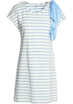 Claudie Pierlot Woman Timber Embellished Striped Cotton-blend Jersey Mini Dress Off-white Size 2