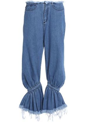 Marques' Almeida Woman Frayed Gathered Low-rise Flared Jeans Mid Denim Size 8
