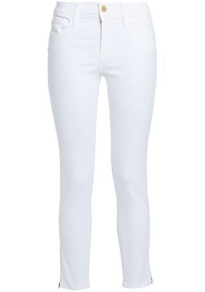 Frame Woman Mid-rise Skinny Jeans White Size 28