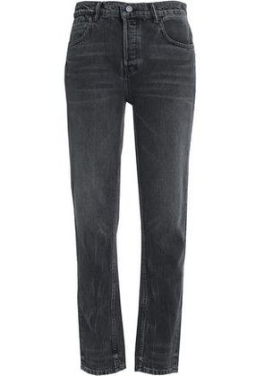 Alexander Wang Woman Faded High-rise Straight-leg Jeans Charcoal Size 25