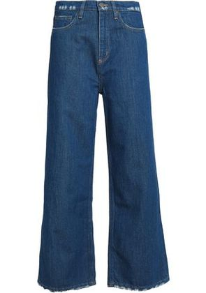 M.i.h Jeans Woman Distressed High-rise Wide-leg Jeans Mid Denim Size 27