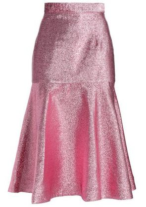 House Of Holland Woman Fluted Lamé Midi Skirt Pink Size 6