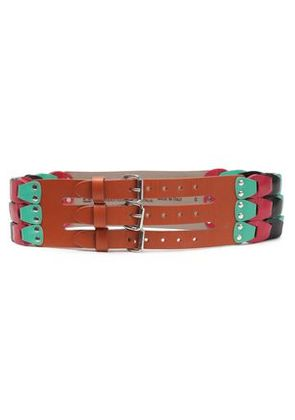 M Missoni Woman Studded Two-tone Leather Belt Turquoise Size S