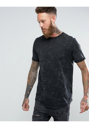 ASOS Longline T-Shirt With Curved Hem In Subtle Acid Wash In Black - Black
