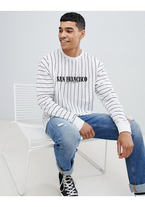 New Look long sleeve t-shirt with San Francisco print in white stripe - White