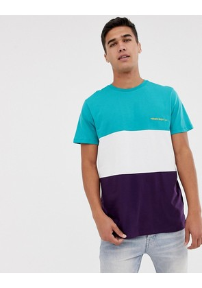 New Look t-shirt with homme embroidery in purple colour block - Dark purple