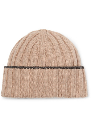 Contrast-tipped Ribbed Wool Beanie