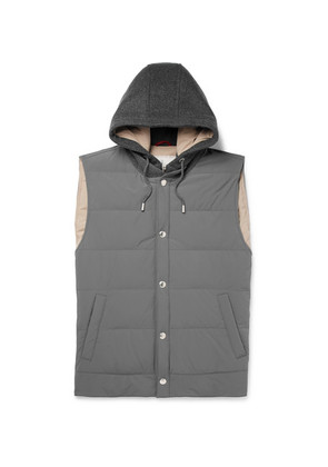 Quilted Shell And Cashmere Hooded Down Gilet