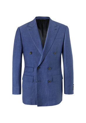 Blue Slim-fit Double-breasted Wool, Silk And Linen-blend Chambray Blazer