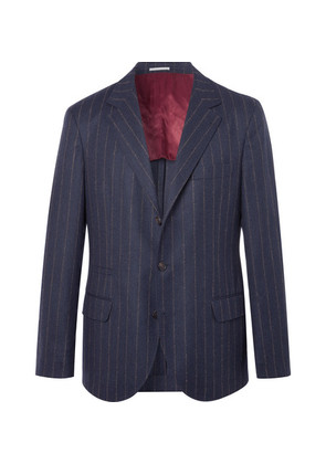 Navy Chalk-striped Wool Suit Jacket